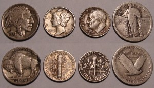 Buffalo Nickel and Mercury Dime